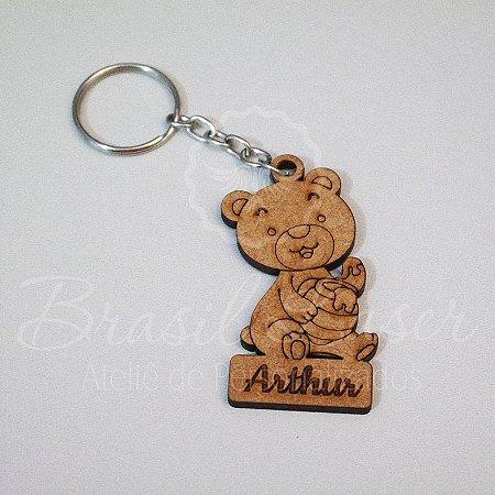1 Chaveiro Ursinho/ Urso Personalizado para Lembrança com Gravação a laser (Minimo 10 unidades por pedido) - Selecionar Material/cor dentro do anuncio
