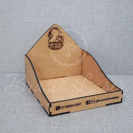 10 Expositores de Brownie / Alfajor / Palha Italiana / Cake / Pão de Mel com 16x16cm em Mdf com logomarca gravada