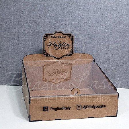 4 Expositores de Brownie com 24x24cm em Mdf com tampa em acrílico transparente DESMONTADAS