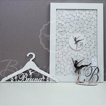 Kit Bailarina 2 ! 1 Topo de Bolo Prata 20 cm + 1 Quadro de Assinaturas Branco com Prata + 1 Cabide Branco
