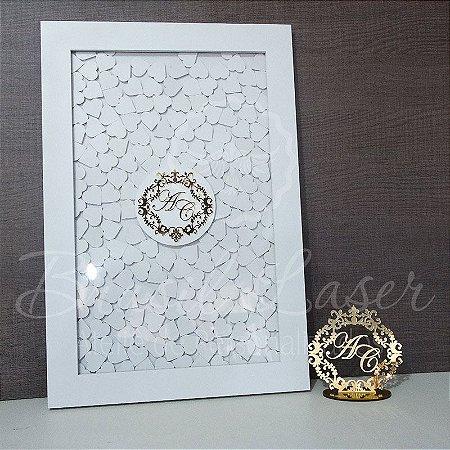 Kit Promocional! 1 Topo de Bolo Dourado 14 cm + 1 Quadro de Assinaturas Branco com Dourado