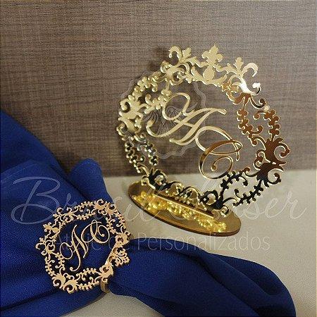100 Porta Guardanapos Pintados de Dourado + 1 Topo de Bolo Espelhado Dourado 20 cm