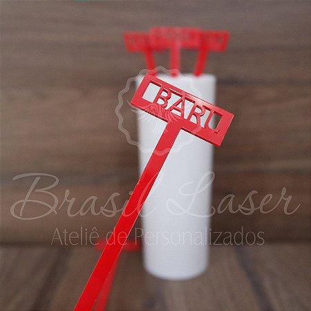 1 Mexedor (Misturador) para Bebidas Personalizado em Acrílico - #Quantidade Mínima: 10 unidades iguais#
