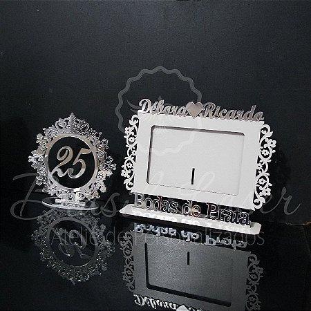 1 Porta Retrato para Bodas de Prata + 1 Topo de Bolo Espelhado Prata 20 cm