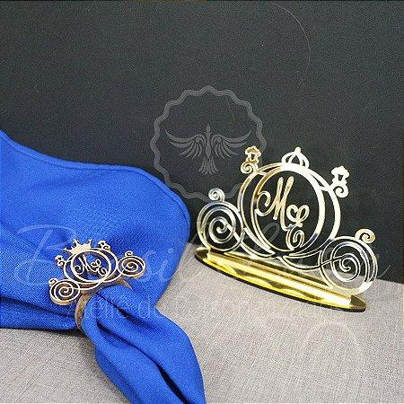 Kit Carruagem - 100 Porta Guardanapos Pintados de Dourado + 1 Topo de Bolo Espelhado Dourado 14 cm