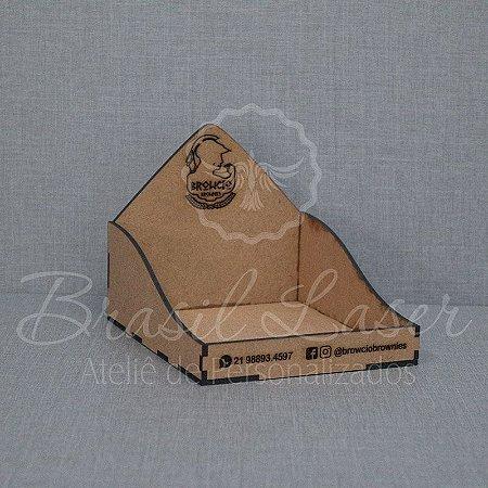 5 Expositores de Brownie / Alfajor / Palha Italiana / Cake / Pão de Mel com 16x16cm em Mdf com logomarca gravada