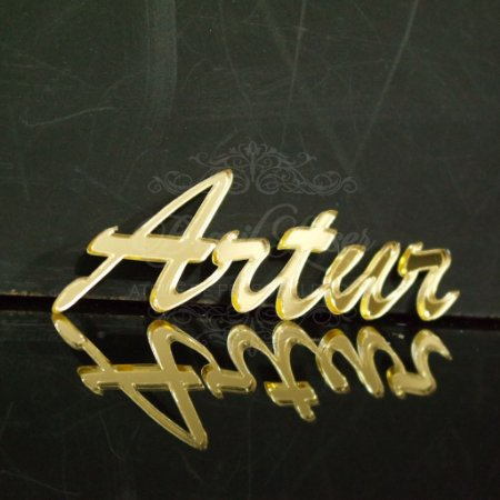 Nomes em Acrílico Espelhado Prata ou Dourado - Tamanhos disponibilizados na opção do anúncio