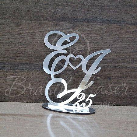 Topo De Bolo Bodas de Prata - com 20cm (maior lado da peça) - Cor à Escolher
