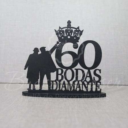 Topo De Bolo Casal Bodas de Diamante - Topo De Bolo com 20cm (maior lado da peça) - Cor à Escolher