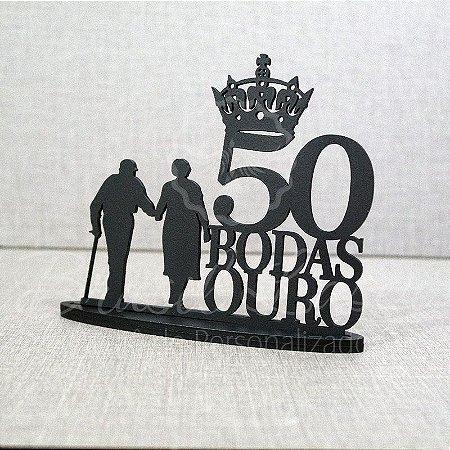 Topo De Bolo Casal Bodas de Ouro - com 20cm (maior lado da peça) - Cor à Escolher