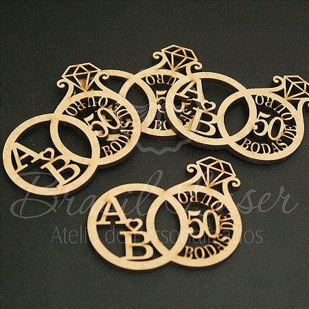 1 Monograma / Brasão Bodas de Ouro Personalizado para Caixinhas ou Convites - #Quantidade Mínima: 10 unidades iguais#