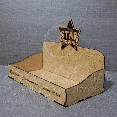 10 Expositores de Brownie com 22x10cm em Mdf com logomarca gravada