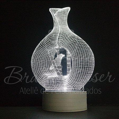 Abajur Luminária de Led sem Fio ( VASO COM PASSARINHO ) com Acrílico Grosso Iluminado 3D - Veja opções de Tamanho no Anúncio