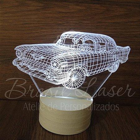 Abajur Luminária de Led sem Fio ( CARRO ANTIGO ) com Acrílico Grosso Iluminado 3D - Veja opções de Tamanho no Anúncio