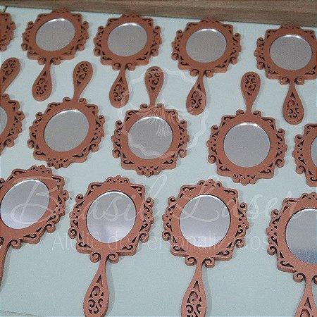 100 Espelhos de mão com 15 cm de altura em Mdf Pintado de Rosê com Espelho em acrílico