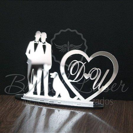 Topo De Bolo Casal Homoafetivo com 20cm (maior lado da peça) - Cor à Escolher