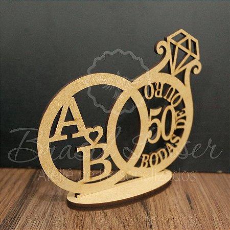 Topo De Bolo Bodas de Ouro - com 20cm (maior lado da peça) - Cor à Escolher