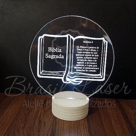 Topo de Led Premium Bíblia Sagrada / Religioso com Acrílico Grosso Iluminado com Nome Personalizado - Veja opções de Tamanho no Anúncio