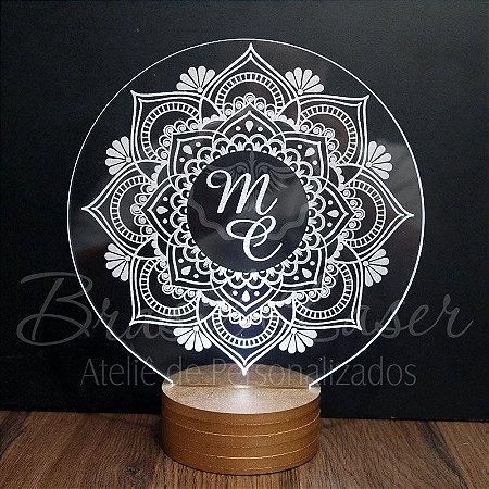 Topo de Led Premium Mandala com Acrílico Grosso Iluminado com Nome Personalizado - Veja opções de Tamanho no Anúncio