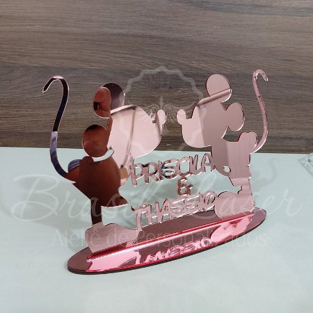 Topo De Bolo Mickey e Minnie com 20cm (maior lado da peça) - Cor à Escolher