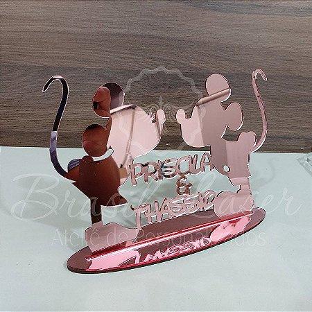 Topo De Bolo Mickey e Minnie com Tamanho com 14 cm (maior lado da peça) - Cor à Escolher