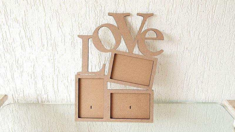 Porta Retrato para 3 fotos escrito LOVE