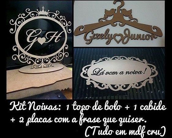 Kit 1 Topo Bolo Mdf + 1 Cabide Mdf + 2 Placas Mdf Daminha