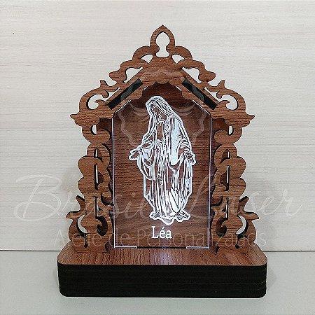 Oratório de LED Nossa Senhora de Fátima Personalizado, feito em Mdf e Acrílico iluminado com LED