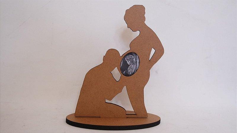 Silhueta Mamãe Grávida com Foto de Ultrassonografia do Bebê - Altura : 15cm