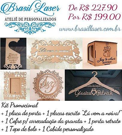 Kit Promocional 1 Topo Bolo Mdf + 1 Cabide Mdf + 1 Placa Mdf + 1 Cofre Gravata + 1 Placa Maçaneta Porta + 1 Porta Retrato