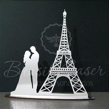 Topo De Bolo Torre Eiffel Paris - Tamanho 20cm (maior lado da peça) - Cor à Escolher