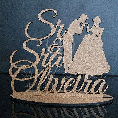 Topo De Bolo  Sr e Sra Princesa - Tamanho 20cm (maior lado da peça) - Cor à Escolher