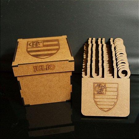 Caixa com 15 Porta Copos Time Flamengo Personalizado Com Nome