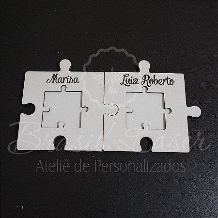 Porta Aliança Quebra Cabeça Personalizado Anel Casamento Entrada do Pajem Mdf Branco