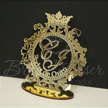 Topo De Bolo Bodas de Ouro - Tamanho com 14 cm (maior lado da peça) - Cor à Escolher