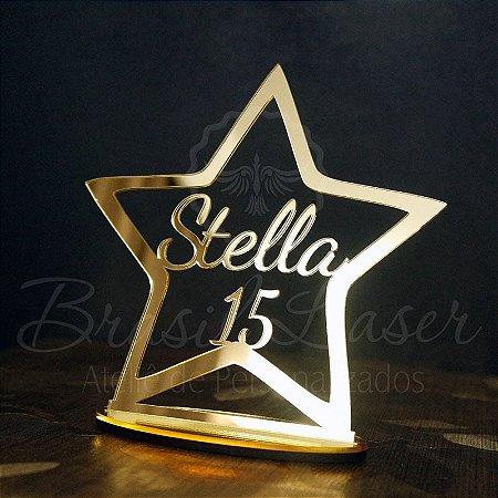 Topo De Bolo Estrela 15 Anos com 14cm (maior lado da peça) - Cor à Escolher