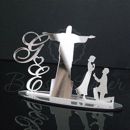 Topo De Bolo Noivado Cristo Redentor - Tamanho 20cm (maior lado da peça) - Cor à Escolher