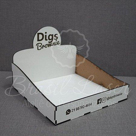 1 Expositor em MDF BRANCO para Brownie com 34x26x5cm com logomarca gravada