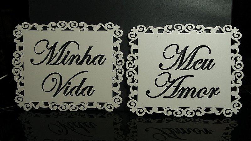 Par de Placas Para Cadeiras dos noivos Pintada ou Sem pintura