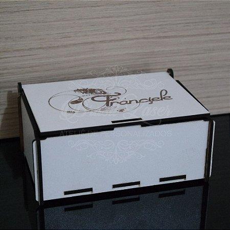 10 Caixinhas Em Mdf Branco Com Gravação Na Tampa com Nome Personalizado 14,5cm x 9cm x 5,8cm