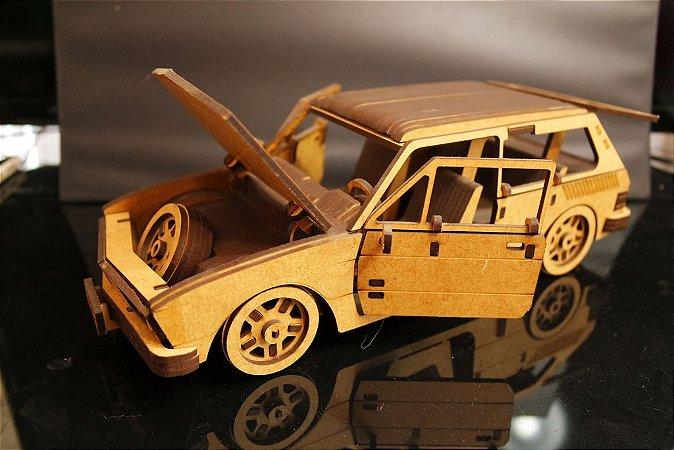 Carro 3D em mdf Modelo Brasília (Puzzle) Desmontado.