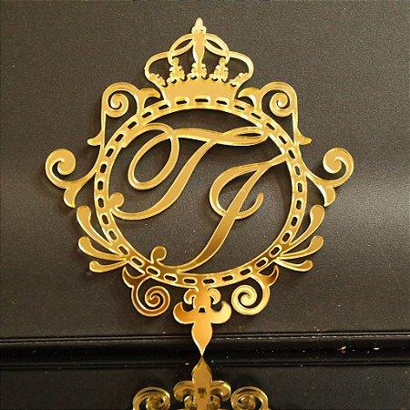Monograma em Acrílico Espelhado Dourado Personalizado para Casamentos Debutantes Aniversário