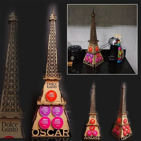 Porta Cápsulas Torre Eiffel 3D Personalizado Dolce Gusto DG - 18 cápsulas
