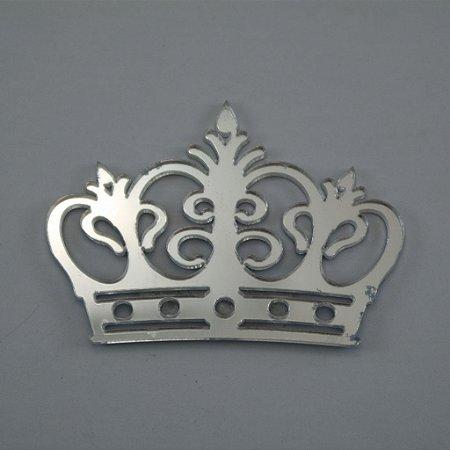 Coroa em Acrílico Espelhado Prata - Tamanhos disponibilizados na opção do anúncio
