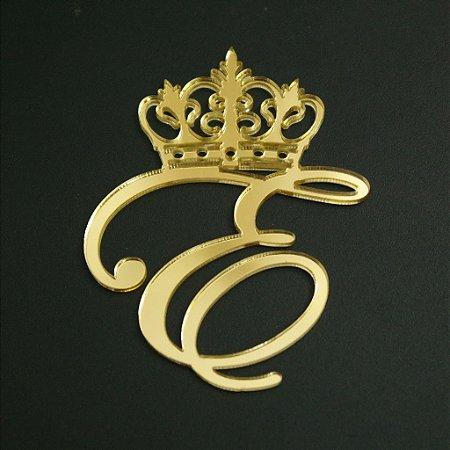 Letra com coroa em Acrílico espelhado dourado - Vários Tamanhos