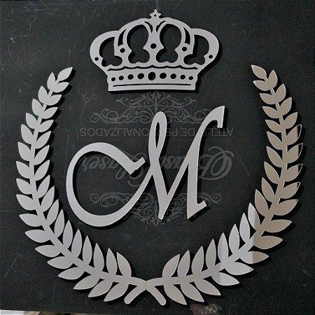 Ramagem com Inicial e Coroa Acrílico Espelhado Dourado Personalizado - Vários Tamanhos
