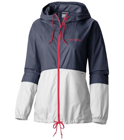 JAQUETA CORTA VENTO FLASH FORWARD WINDBREAKER BRANCO E AZUL NOCTURNAL FEMININO KL3010 COLUMBIA