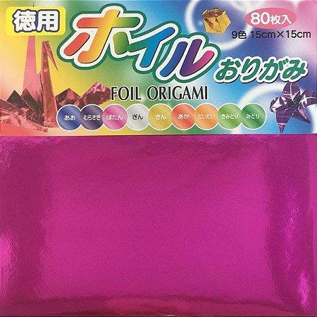 Papel p/ Origami 15x15cm Face Única Metalizada 9 Cores No. 750 (80fls)