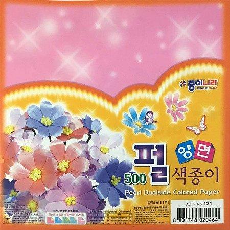 Papel P/ Origami 15x15cm Dupla-Face Liso Perolizado Pearl (AI11Y1) (10fls)
