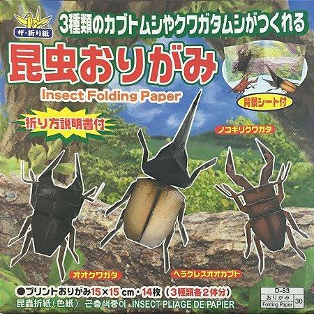 Papel P/ Origami 15x15cm Estampado Face única D-83 30 Insect Besouros (14fls)